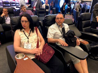 Franco Camastra, Sue Camastra test new cinema seating