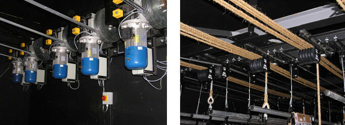 Fly bars (stage pulley bars) and grids