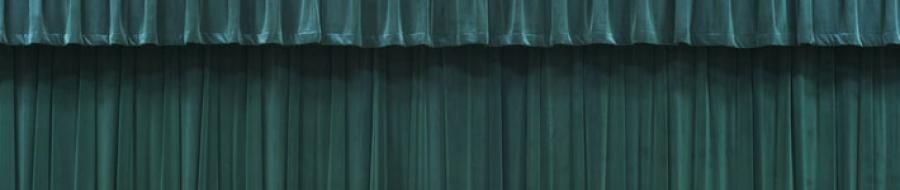 Green stage curtains