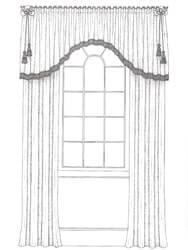 Pencil Pleated Valance for Curtains with Arched Hemline